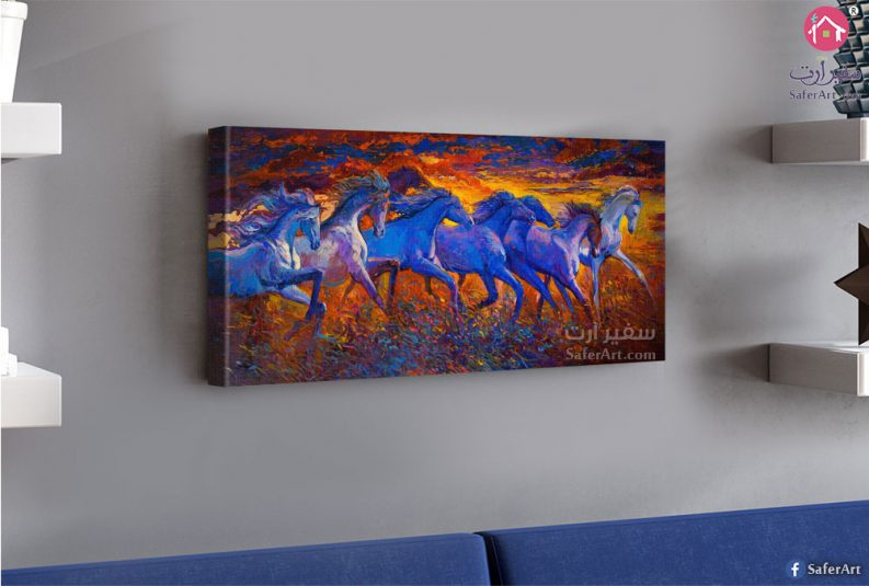 تابلوه حائط مميز لمجموعه من الخيول التى تتسابق مع بعضها