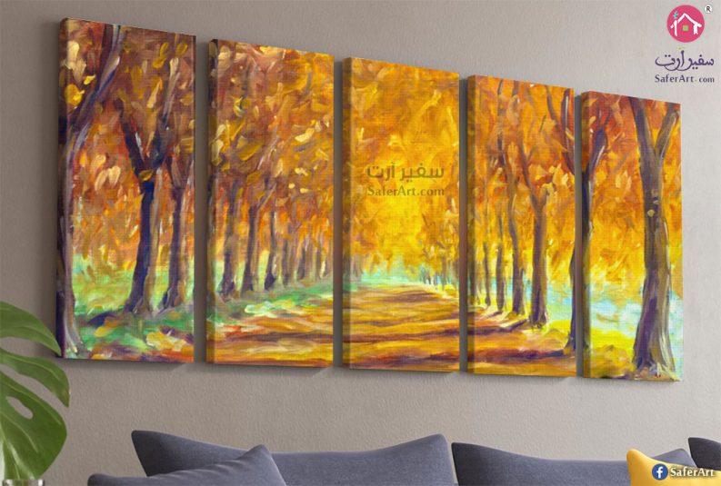 لوحه مودرن مميزه وجذابه لطريق الغابه مليئ بالاشجار
