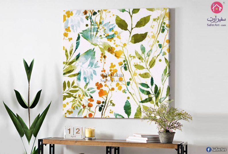تابلوه مودرن رسومات زهور نباتات واوراق اشجار خضراء