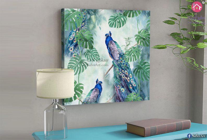 تابلوه مودرن مميز طاووس ملون باللون الازرق