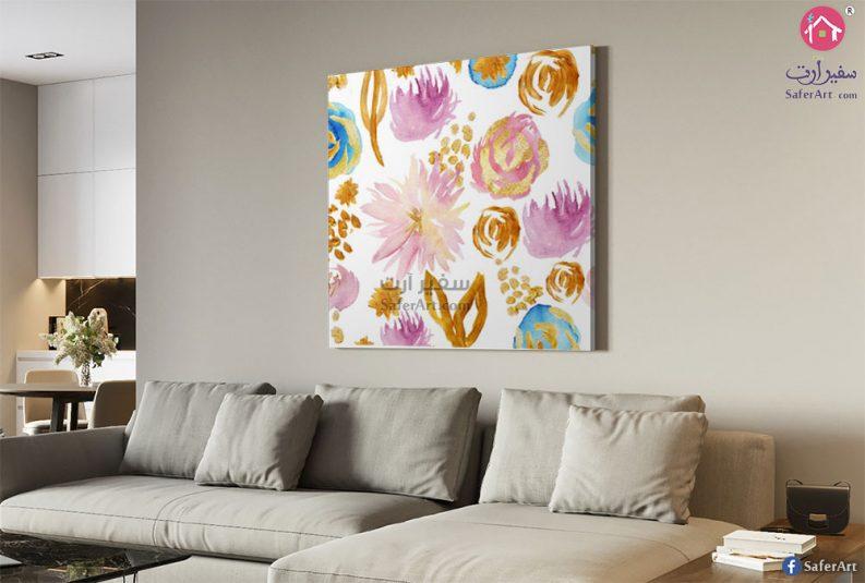 لوحه حائط للديكور مميزه لمجموعه من الزهور الملونه
