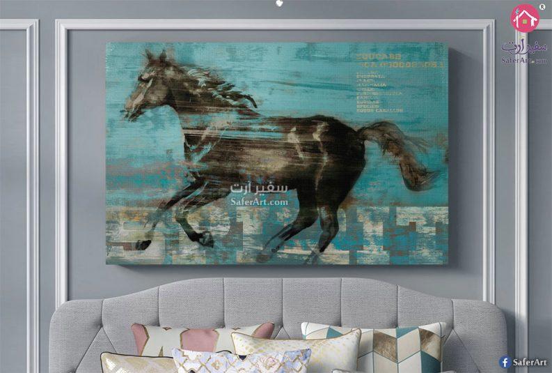 لوحه حائط مودرن حصان ملون باللون البنى على خلفيه زرقاء متناسقه