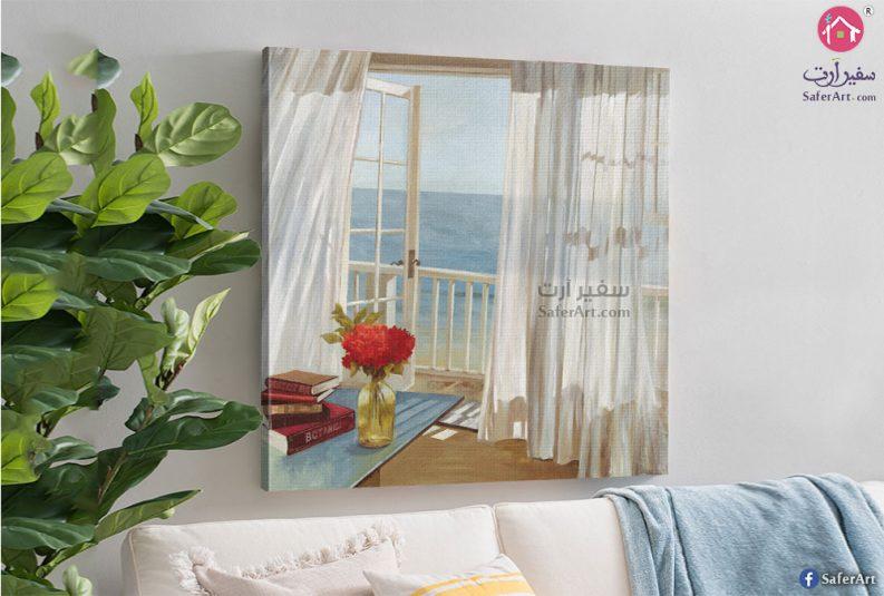تابلوه لمنظر البحر من داخل غرفه