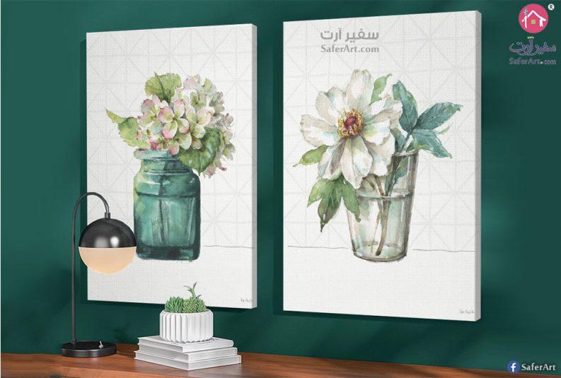 تابلوه مميز لزهور بيضاء ذات الاوراق الخضراء