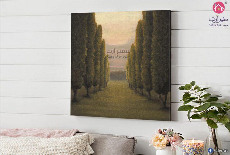 لوحه حائط لمجموعه من اشجار الغابات الخضراء