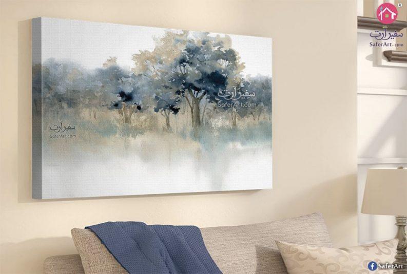 تابلوه حائط لمجموعه من الاشجار الملونه باللون الاخضر