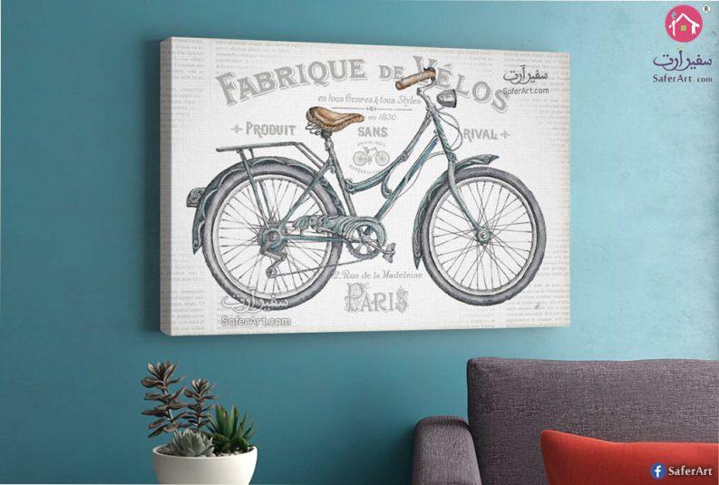 تابلوه مودرن دراجه ملونه بتدرجات اللون الرمادى