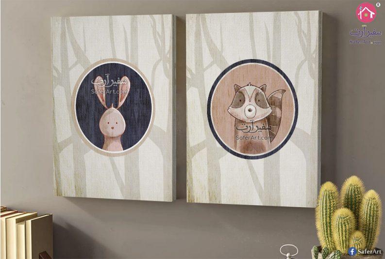 تصميمات بسيطه لغرف الاطفال حيوانات مرسومه بطريقه كرتونيه