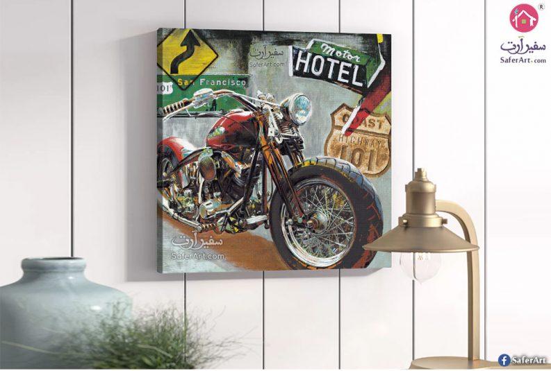 لوحة فنية مختاره لدراجه بخاريه لغرف الشباب
