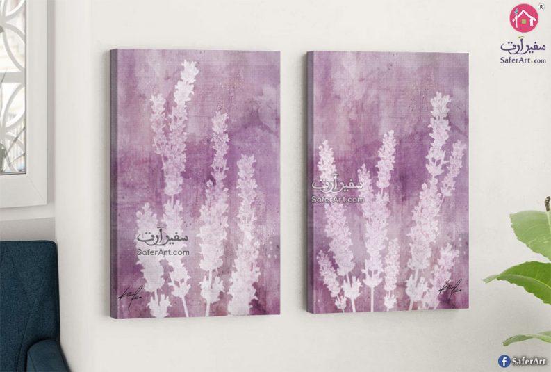 لوحة فنية مميزة لمنظر طبيعي لزهره اللافندر