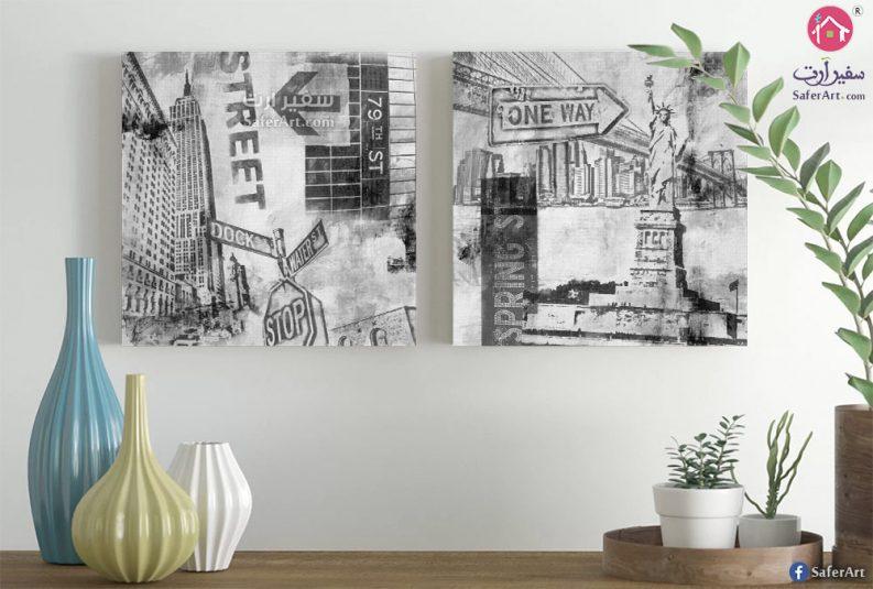 تابلوه حائط مميز باللون الابيض والاسود