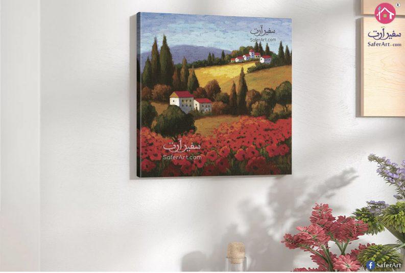 لوحة فنية مميزة لمنظر طبيعي لزهور حمراء واشجار كثيفه خضراء