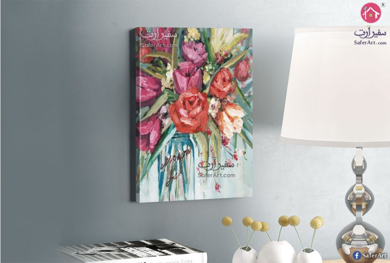تابلوه مودرن زهور وورود ملونه باللون البينك