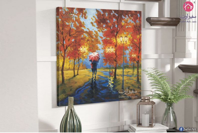 لوحه مودرن رومانسيه لرجل وامراءه يسيران وسط الاشجار