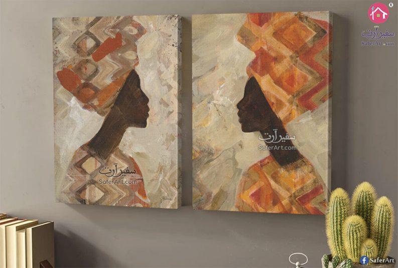 تابلوه لشخصيه افريقيه ذو بشره سمراء مصممه بدون ملامح