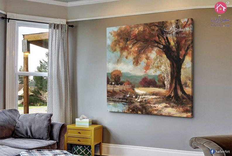 تابلوه حائط مودرن لاشجار فى فصل الخريف