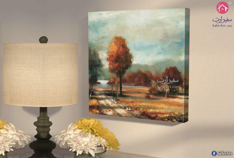 لوحه حائط مصممه بطريقه مودرن لاشجار فى فصل الخريف