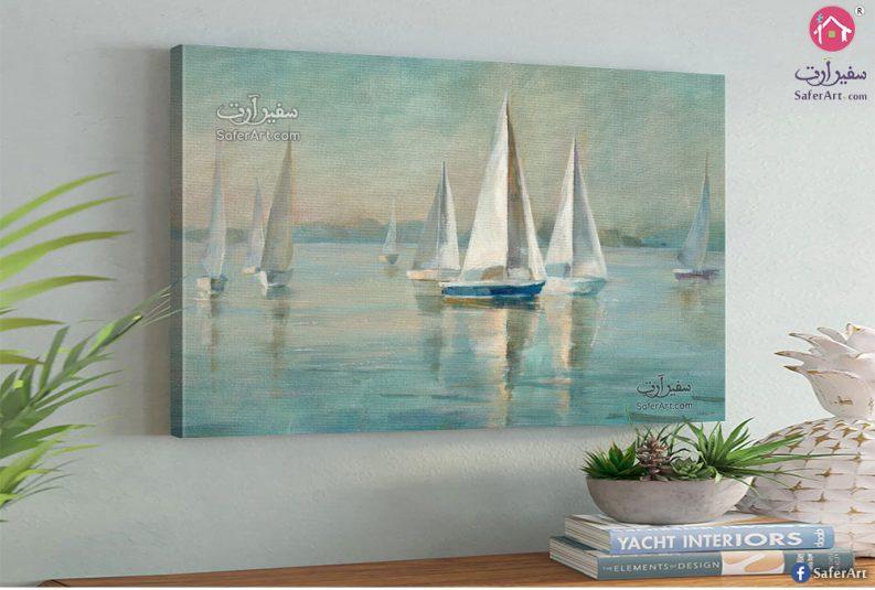 تابلوه مميز لقوارب نيليه وسط الماء باللون الابيض والمياه زرقاء