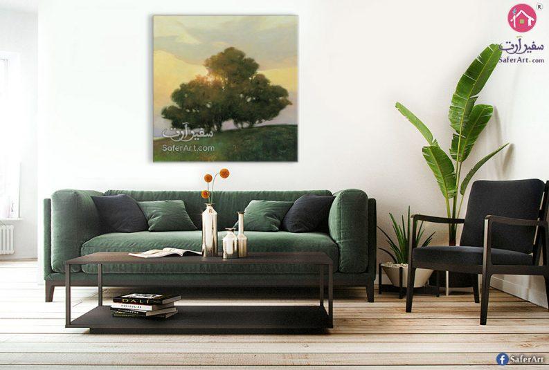 منظر طبيعى لغابه اشجار خضراء مصممه بطريقه مودرن جذابه