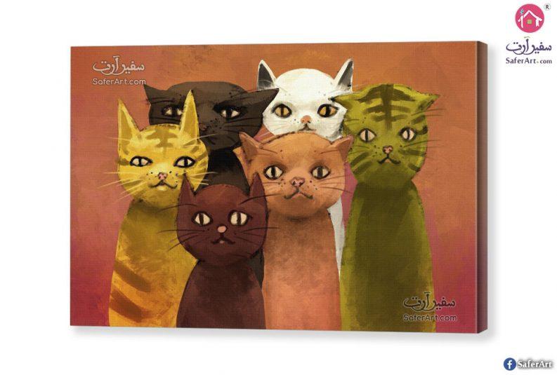 تابلوه مودرن مميز لمجموعه تصميمات بسيطه قطط