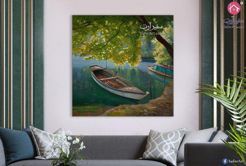 لوحه مميزه للطبيعه الخضراء حيث الاشجار الملونه باللون الاخضر