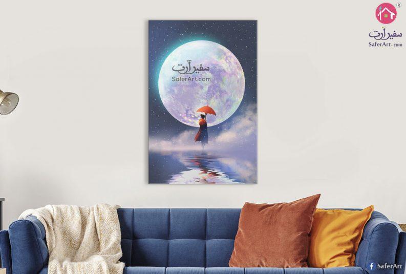لوحه لمحبى الفضاء لقمر مضئ مرسوم بطريقه مكبره