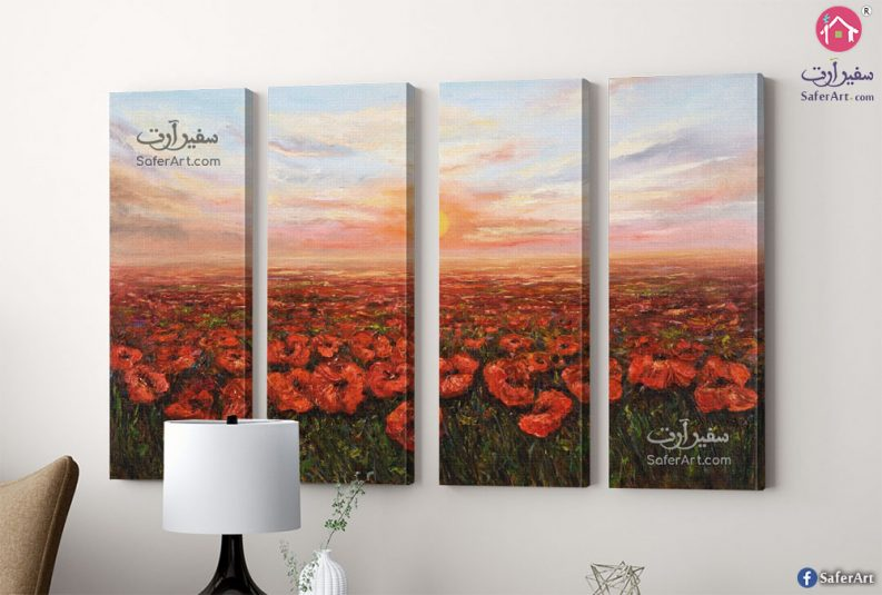 تابلوه حائط مودرن حقل زهور حمراء