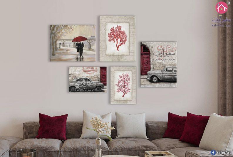 لوحات جاليرى لديكور الحائط بنى و احمر