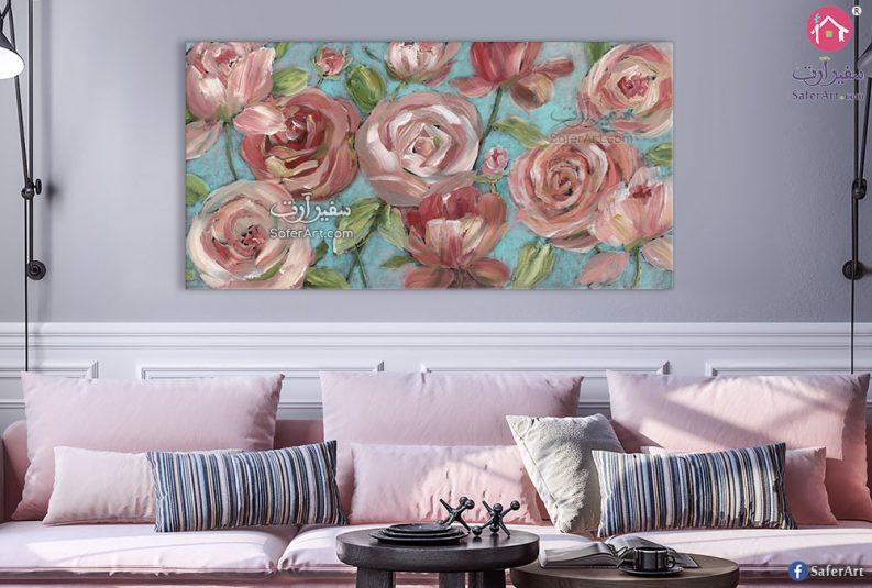 لوحه حائط فنيه مميزه لتصميمات زهور وورود باللون البينك