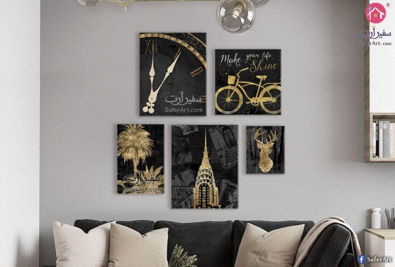 تابلوهات مودرن باللون الذهبى