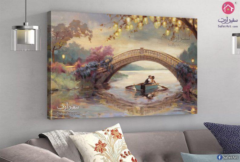 لوحه رومانسيه جذابه لعريس وعروسه وسط الماء
