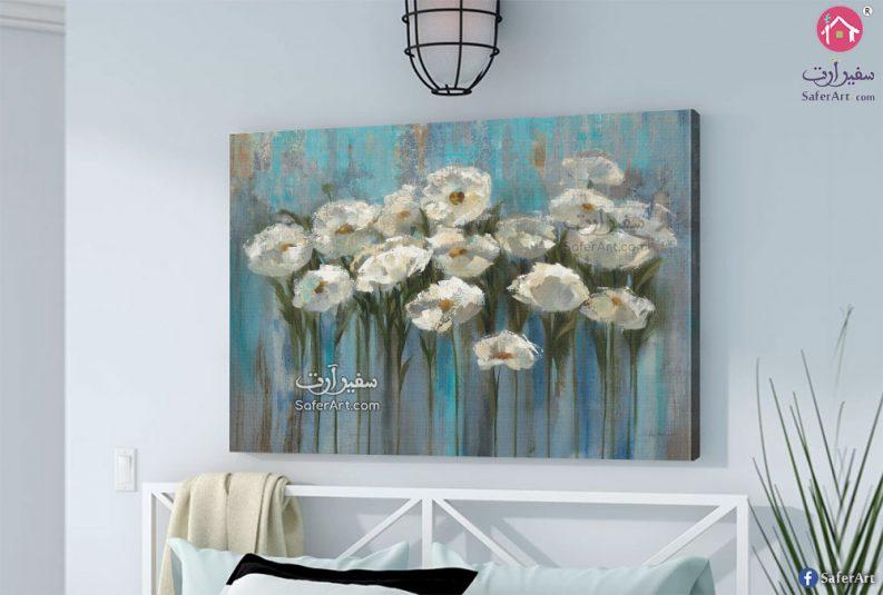 تابلوه حائط مودرن زهور بيضاء