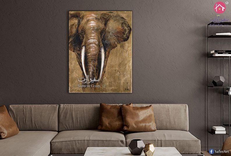 لوحه حائط مرسومه بطريقه مبتكره لفيل