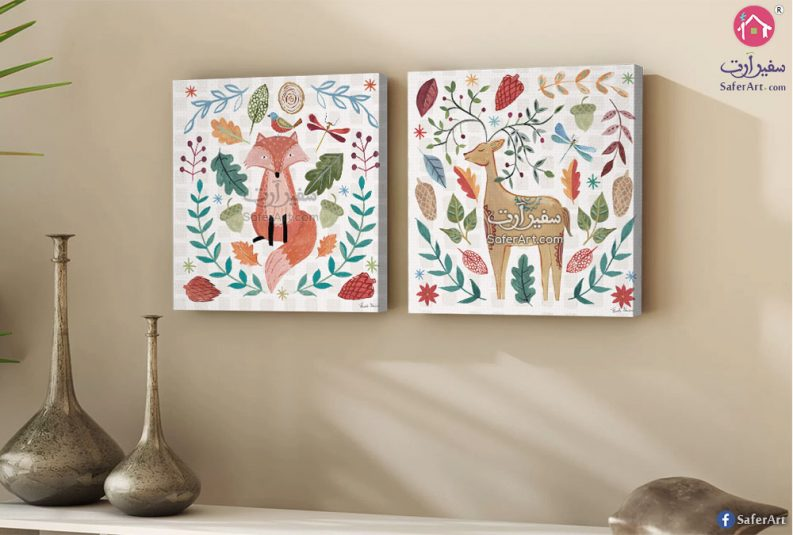 تابلوه حائط مودرن من قطعتين لرسومات حيوانات