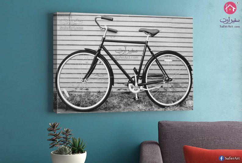 لوحه فنيه دراجه ابيض واسود