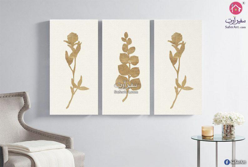تابلوه حائط مودرن مكون من 3 قطع لمجموعه زهور