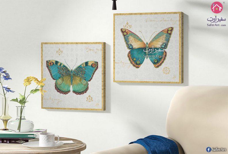 تابلوهات حائط للديكور لفراشات مصممه بالوان الربيع