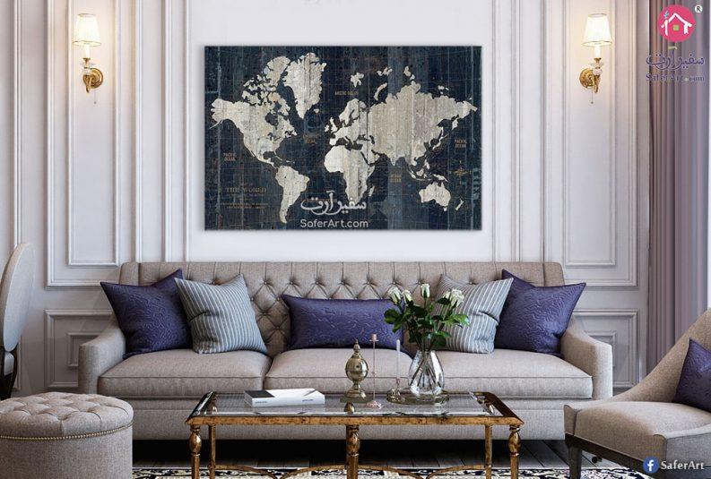 لوحه حائط قديمه لخريطه العالم مصممه باللون البيج والازرق