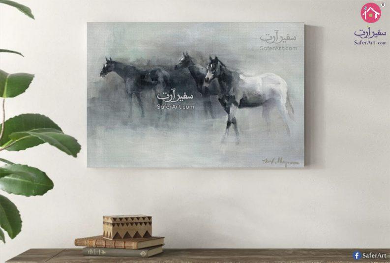 لوحه مميزه لمجموعه من الخيول المصممه بطريقه جديده