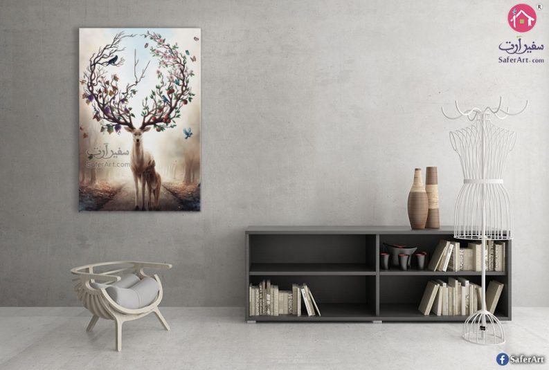 deer-flowers-wall-art