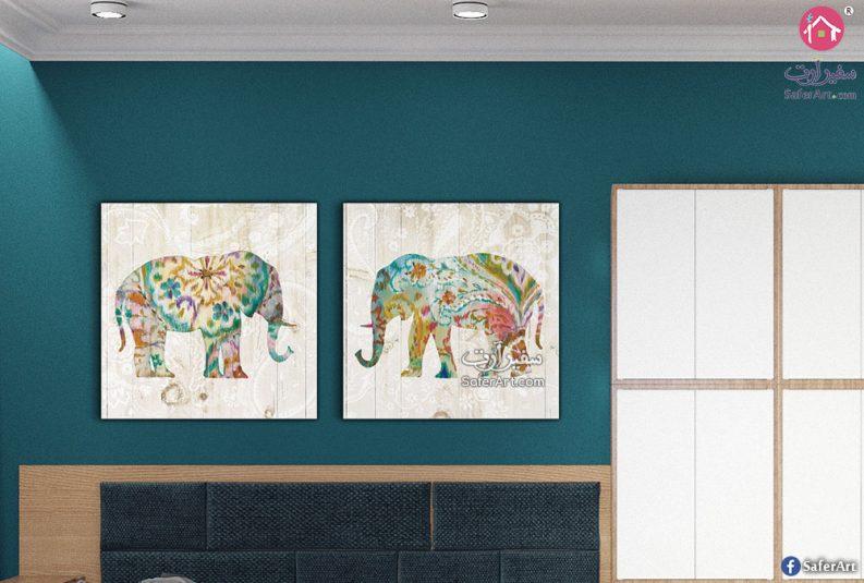 لوحه حائط مصممه من قطعتين ,فيل مصمم بطريقه جذابه