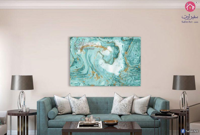 لوحه مودرن لتابلوه تجريدى على شكل موجات ملونه باللون الازرق