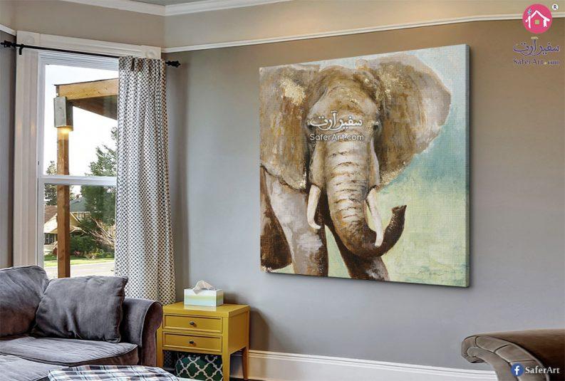 صوره حائط لمحبى الحيوانات ,فيل مصمم بطريقه مكبره لوجهه الفيل