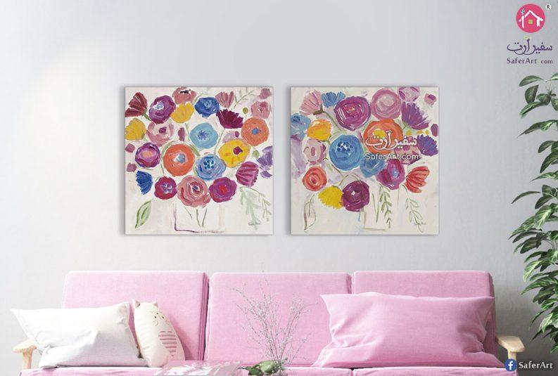لوحه حائط للديكور مصممه بشكل ممتع جدا واحترافى لزهور وورو