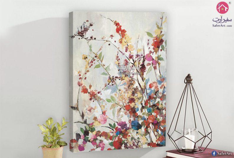لوحه مصممه بطريقه احترافيه لفرع من الزهور والورود