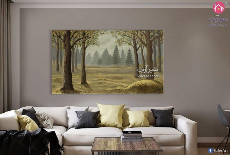 تابلوه مودرن مصمم لغابه مليئه بالاشجار