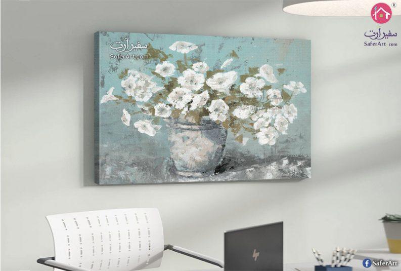 لوحه مودرن زهور وورود بيضاء مصممه باحترافيه