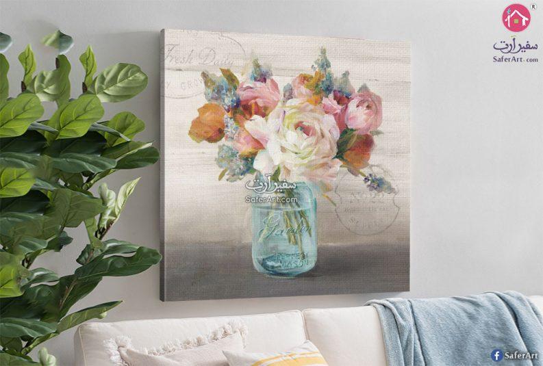 تابلوه مودرن للديكور لمجموعه زهور وورود