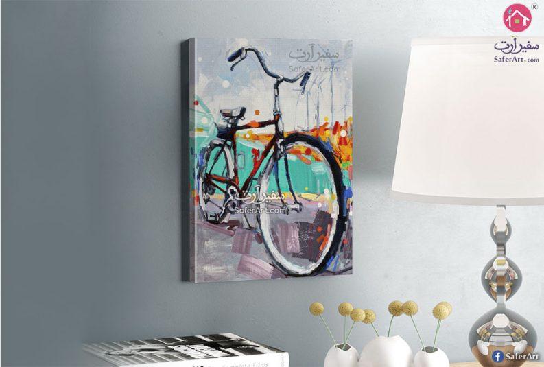 تابلوه مودرن مميز لدراجه هوائيه مرسومه بالوان مختلفه