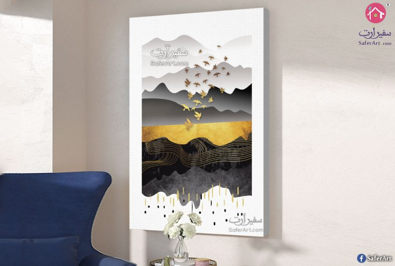 Birds-and-mountains-wall-art